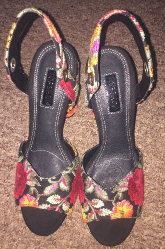 New Black Topshop Ladies uk Heels Detail Size 38 5 With Floral rxxZHtwO