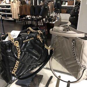 Michael-Kors-Womens-Medium-Leather-Shoulder-Tote-Bag-Handbag-Purse-Black-Grey-MK