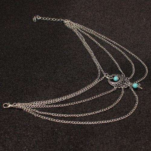 boho turquoise barefoot sandal beach anklet foot chain beautiful ankle bracele I