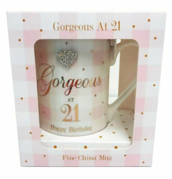 Fine China Anniversaire Âge Mug coffret cadeau Cœurs Argent 21st