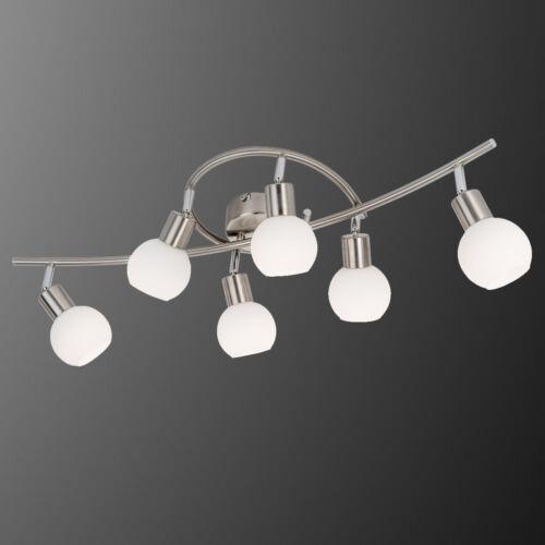 LED Deckenleuchte Loxy Nickel Glas weiß Deckenlampe 6-flg Spot mit Leuchtmittel