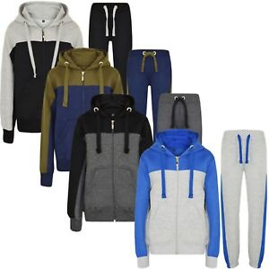 Boys-Tracksuit-New-Kids-Contrast-Style-Hooded-Jogging-Bottoms-And-Hoodie-4-CLRS