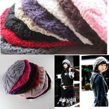 514130559fb Hot UK Women Beret Braided Baggy Knit Crochet Beanie Hat Ski Cap Winter  Warm Cap