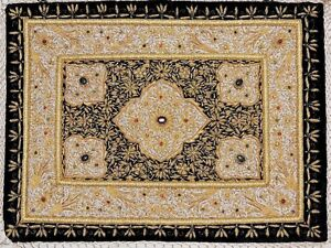 Details About Kashmir Zardozi Jewel Carpet Rug Handmade Traditional Decorative Wall Hanging