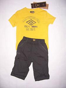 Ensemble-tee-shirt-pantacourt-enfant-UMBRO-taille-12mois-coloris-jaune-terre