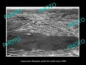 OLD-LARGE-HISTORIC-PHOTO-OF-LAUNCESTON-TASMANIA-AERIAL-VIEW-OF-THE-TOWN-c1960-1