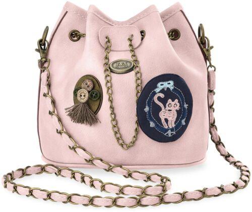 Beuteltasche Damentasche City Style Umhängetasche Kette 3D Applikation rosa