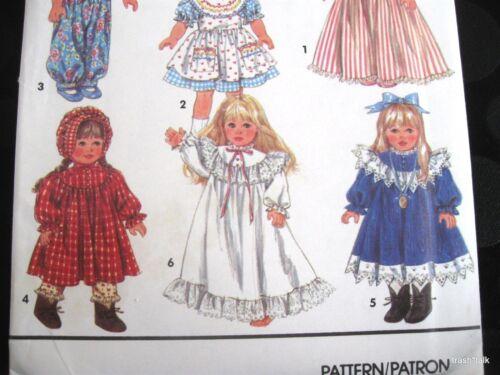 "Wardrobe for 18/"" doll romper prairie dress nightgown bonnet shawl PATTERN"