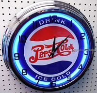 17 Drink Ice Cold Pepsi Cola Sign Neon Clock