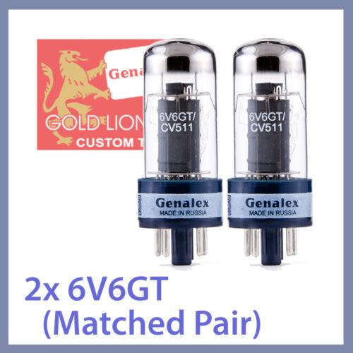 2x NEW Genalex Gold Lion 6V6 6V6GT Matched Pair TESTED CV 511 Vacuum Tubes