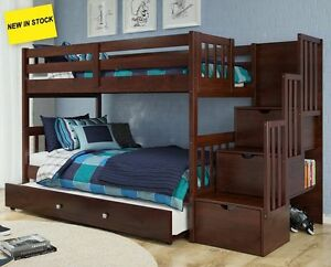 Image Is Loading Dark Wood Twin Bunkbed Stairs W Storage Amp