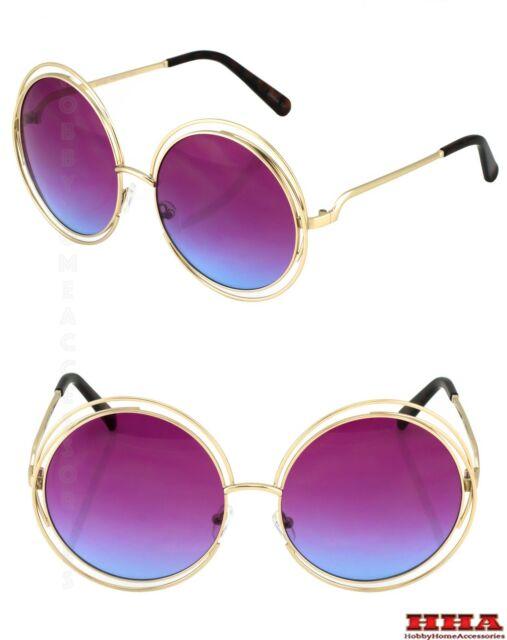 Oversized Huge BOHO Carlina Large Metal Double Wire HALO Sunglasses Glasses XXL