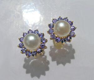 Ohrringe-Diamanten-Zuchtperlen-585er-Gelbgold-Tansanite-AAA-Neu