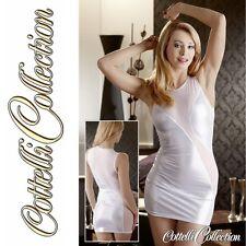 CC Partykleid seit. Transparent Glitzer Look Minikleid Weiß Silber in XL