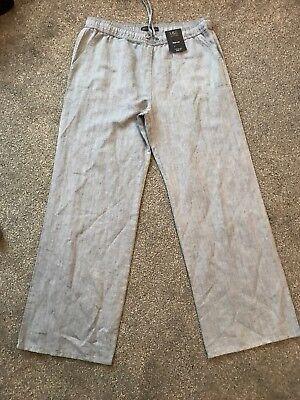 M/&s Chambray Linen Blend Pants Trousers Size 16 Regular   Bnwt Free Sameday P/&p