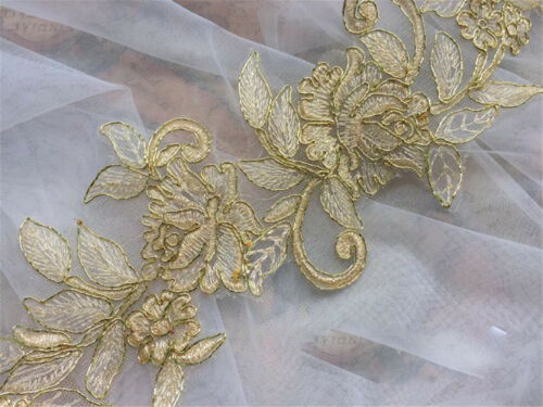 Hell Gold Braut Spitze Applikation Stickereien Hochzeits Kleid Motiv