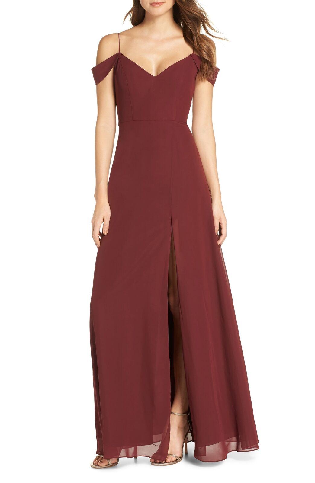 nouveau Jenny Yoo Priya froid épaule en mousseline de soie robe de soirée taille 4 285   HIBISCUS