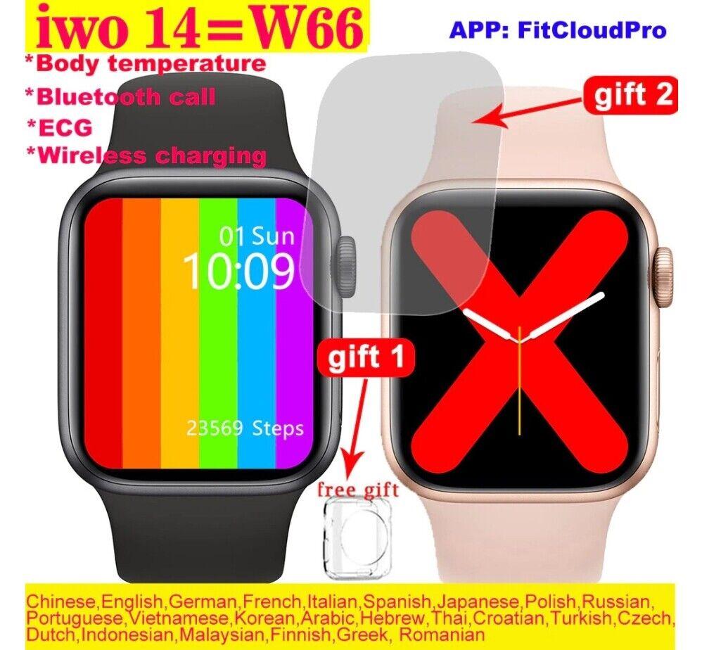 100% Original IWO 14 W66 Smartwatch Men 40mm/44mm Size 1.75'' Display Heart Rate