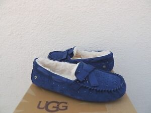48bdee29eb6 Details about UGG DAKOTA SUNSHINE PERF SUEDE/ SHEEPSKIN MOCCASIN SLIPPERS,  US 11/ EUR 42 ~ NIB