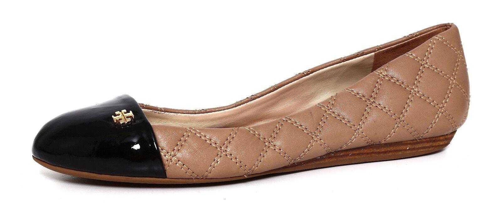 Tory Burch Claremont Leather Flat Beige Women Sz 7.5 M 2067