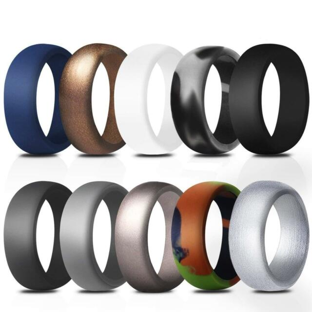 Siliringz Silicone Wedding Ring for Men//Women Pack of 3 Stripe Rubber Band