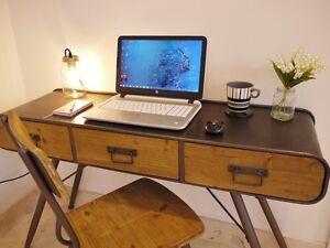 vintage office table. Image Is Loading Industrial-Vintage-3-Drawer-Metal-Wood-Sideboard-Office- Vintage Office Table