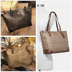 c1a3e278bb8c NWT Coach F29208 Zip Top Tote In Signature Canvas Handbag Shoulder ...