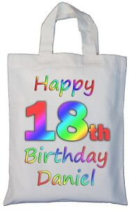 Image Is Loading PERSONALISED 18th BIRTHDAY COTTON GIFT BAG Present