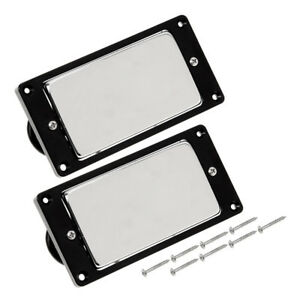 Chrome-Metal-Electric-Guitar-Humbucker-Pickup-Set-Sealed-Double-Coil-Black-Frame