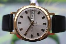 MEN'S THICKLY GOLD-PLATED VERY BIG USSR SLAVA WATCH 26 JEWELS; DOUBLE CALENDAR