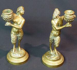 B 1820 Rare Paire Statues Bougeoirs Bronze Doré Faune Bacchus Sathyr 21cm2,6kg Ehqfwujd-12080858-141747412