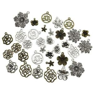 11-Style-Of-Flower-Antique-Silver-Bronze-Charms-Pendant-Jewelry-Finding-DIY-J