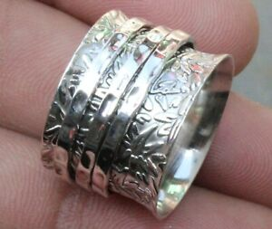 Solid 925 Sterling Silver Wide Band Spinner Ring Jewelry Handmade All Size B-177
