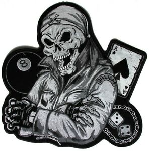 DEATH SKULL ACE & EIGHTBALL Outlaw Military Biker Jacket Vest Large Back Patch