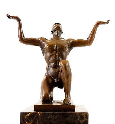 Bronzeskulptur - Kniender Adonis - signiert Milo