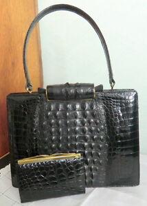 Image Is Loading Vintage Modell Royal Black Crocodile Kroko Leder Handbag