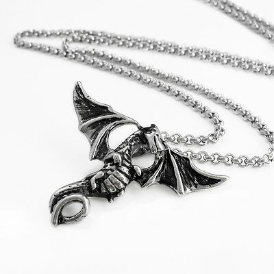 Stainless Steel Winged Dragon Pendant Necklace w/ 55cm Rolo Link Chain