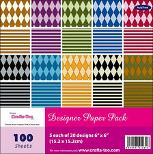 """Pk 20 x 6"""" x 6"""" SAMPLE Paper Stack Harlequin papers for cards/crafts"""