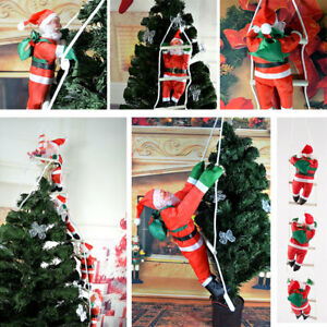 Christmas-Santa-Claus-Climbing-On-Rope-Ladder-Figure-Xmas-Trees-Outdoor-Decor