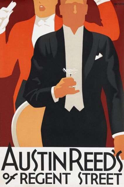 Austin Reed S Mens Clothes No2 1926 Old Vintage London Poster Repro Ebay