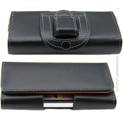 Black Horizontal P-Leather Case Cover Pouch + Holster Belt-Clip for SONY Phones