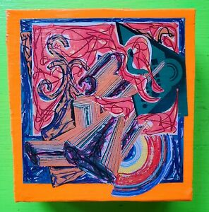 Vintage Mid Century 60s 70s 80s Colorful Abstract Frank Stella Wall Hanging Art