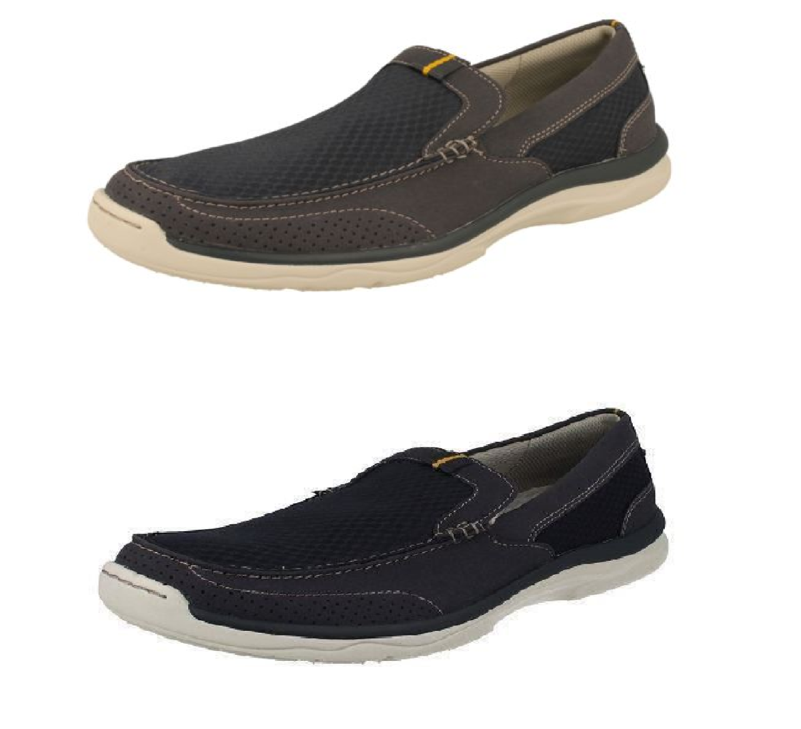 Mens Grey Navy Light Weight Clarks Cloud Steppers Canvas shoes Marus Step