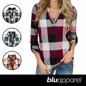 Ladies-Nicola-Checked-Shirt-Tops-Womens-T-Shirts-Cotton-Blouse-UK-8-14-16-18-20
