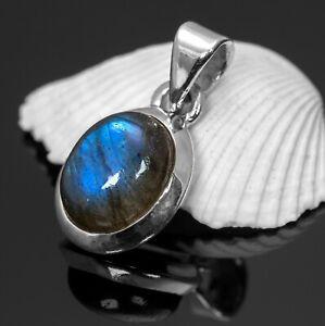 Elegant 925 Sterling Silver Labradorite Gemstone Necklace Pendant Gift Boxed