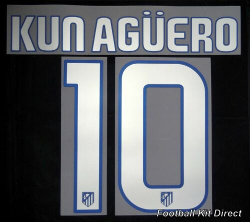 Atletico Madrid Kun Aguero 10 200809 Football Shirt Name Set Away