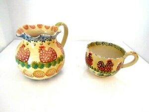 Vintage-Italica-ARS-Hand-Painted-Rooster-Pitcher-Made-in-Italy-6-034-One-Soup-Cup