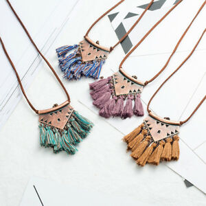 EE-Women-039-s-Boho-Bohemian-Beaded-Tassel-Pendant-Necklace-Long-Sweater-Chain-New