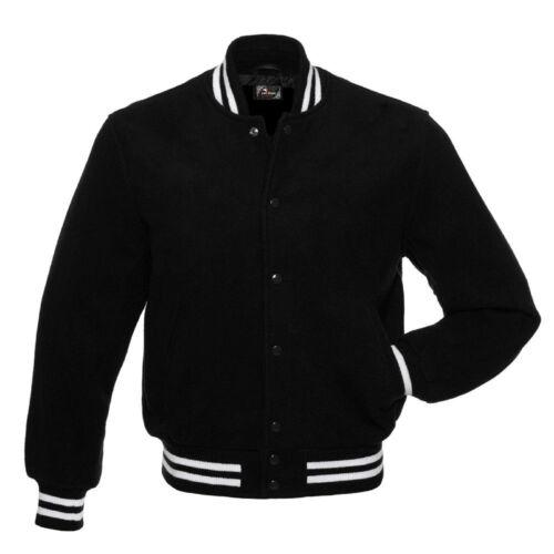Giacche Letterman nerobianco Varsity Bomber Tutto College Wool Rib Black EYDHI9W2
