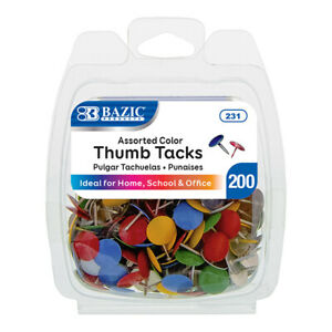 200 Assorted Color Push Pin Thumb Tacks Multi Color Head Office School